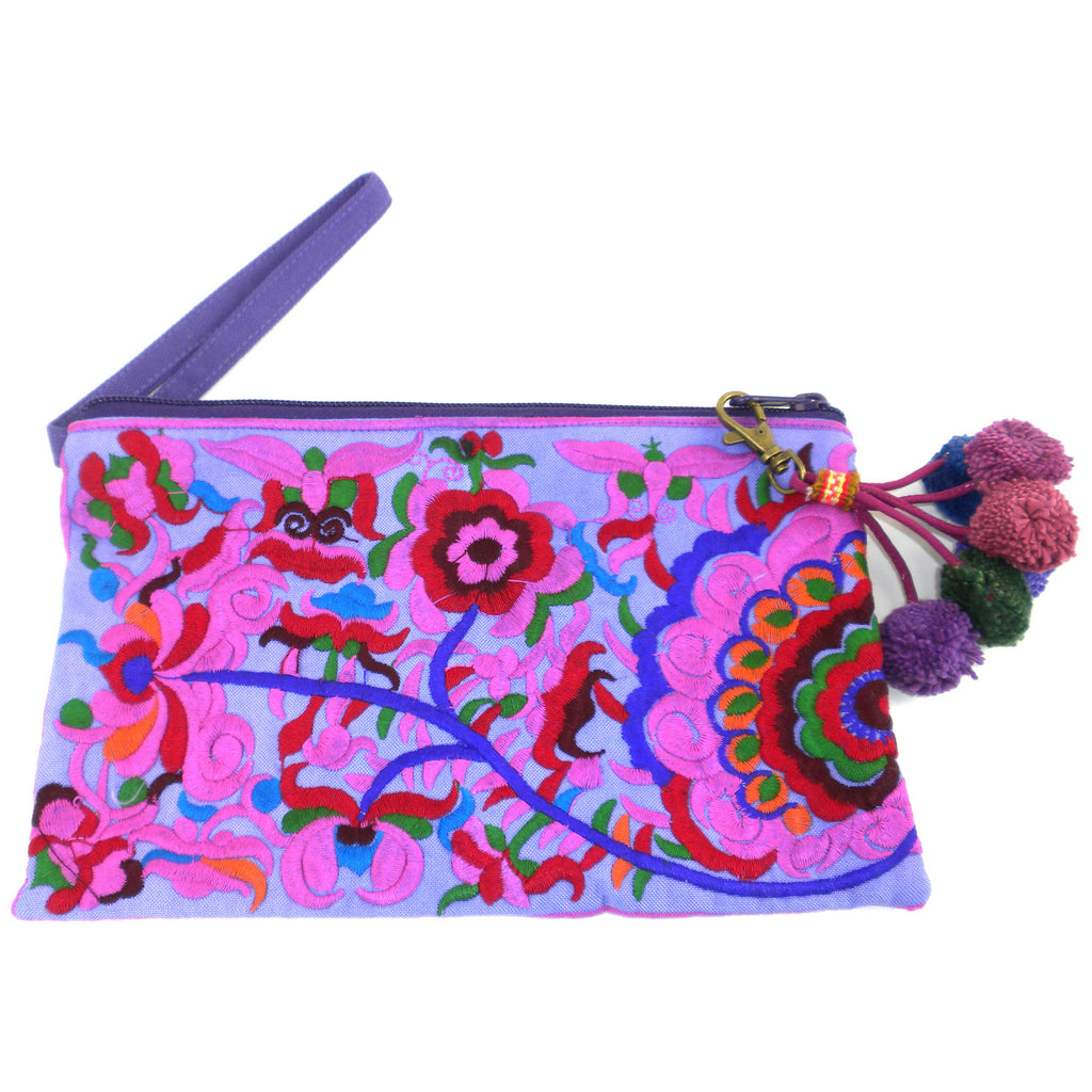 Double Sided Grab n Go Pom Pom Clutch - Purple - Global Groove