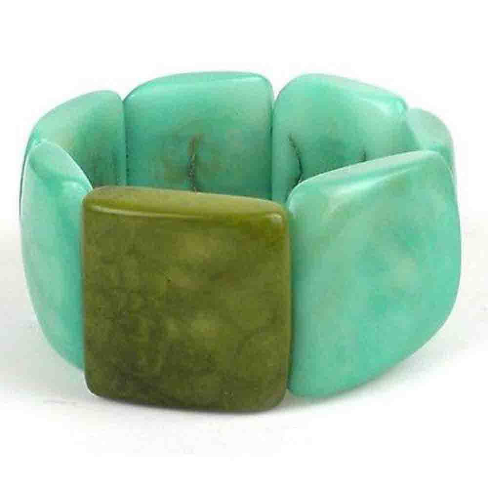 Accented Tagua Bracelet Sea Green Handmade and Fair Trade
