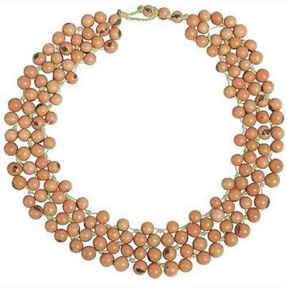 Acai Seed Marea Collar in Salmon Faire Collection