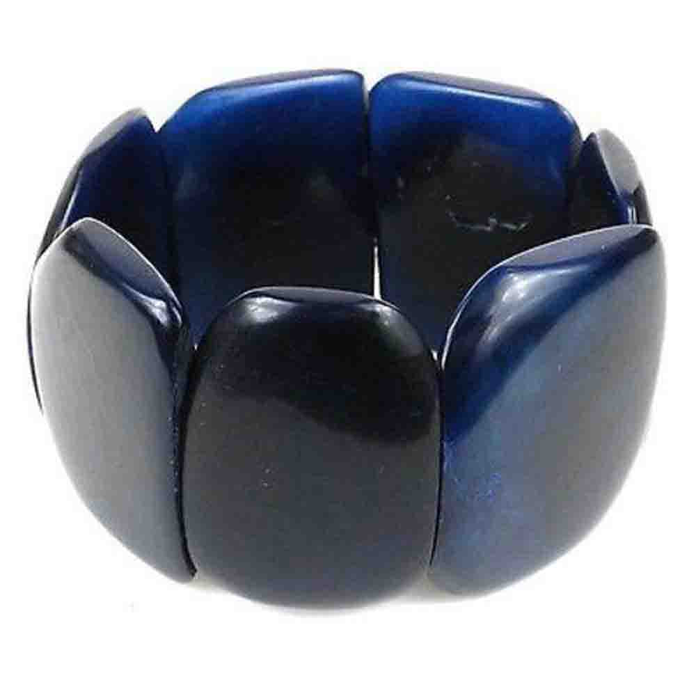 Polished Tagua Nut Bracelet in Navy Blue Faire Collection