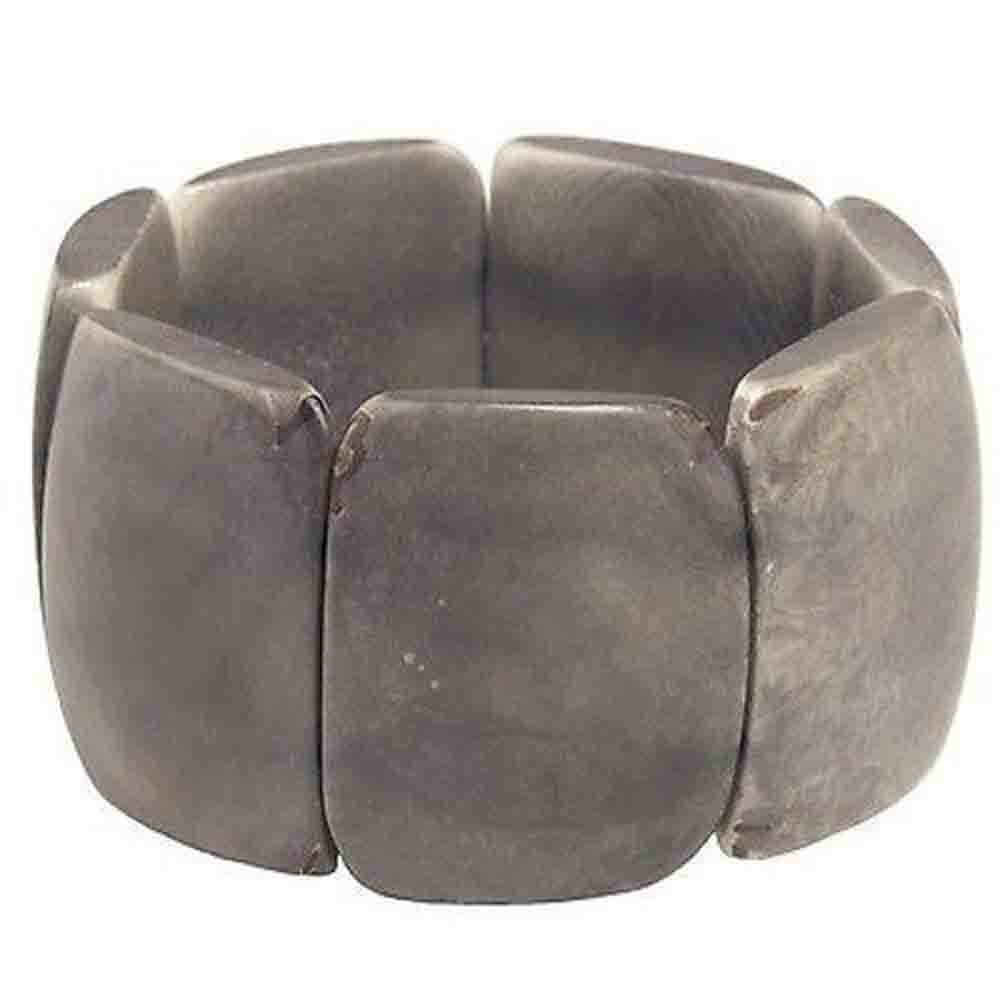 Polished Tagua Nut Bracelet in Soft Gray Faire Collection