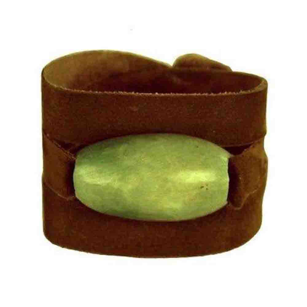 Tagua and Leather Wrap Bracelet - Leaf Green - Faire Collection