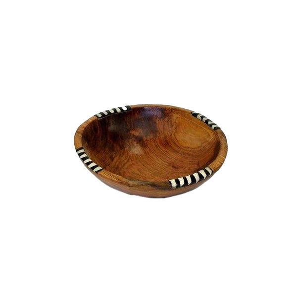 7-Inch Olive Wood Bowl with Inlaid Bone Handmade and Fair Trade