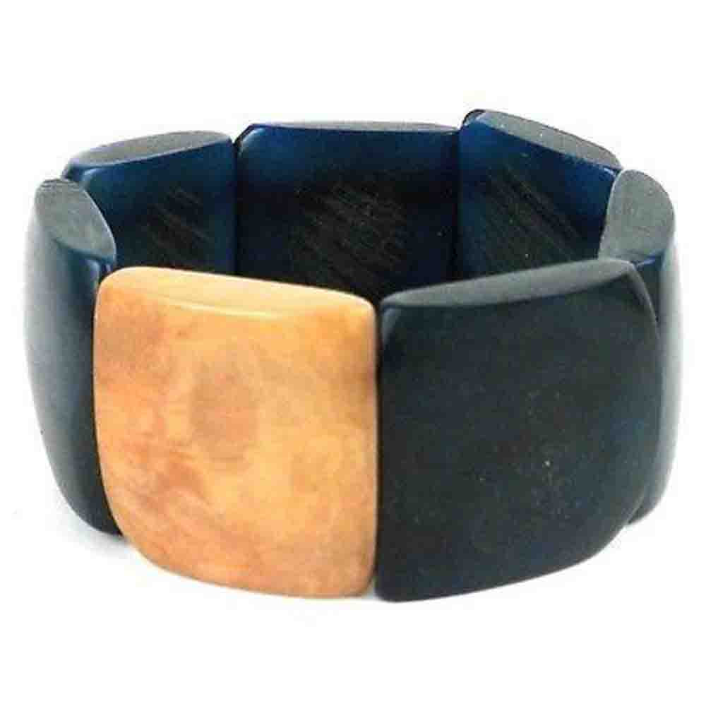 Accented Tagua Bracelet Midnight Teal Handmade and Fair Trade