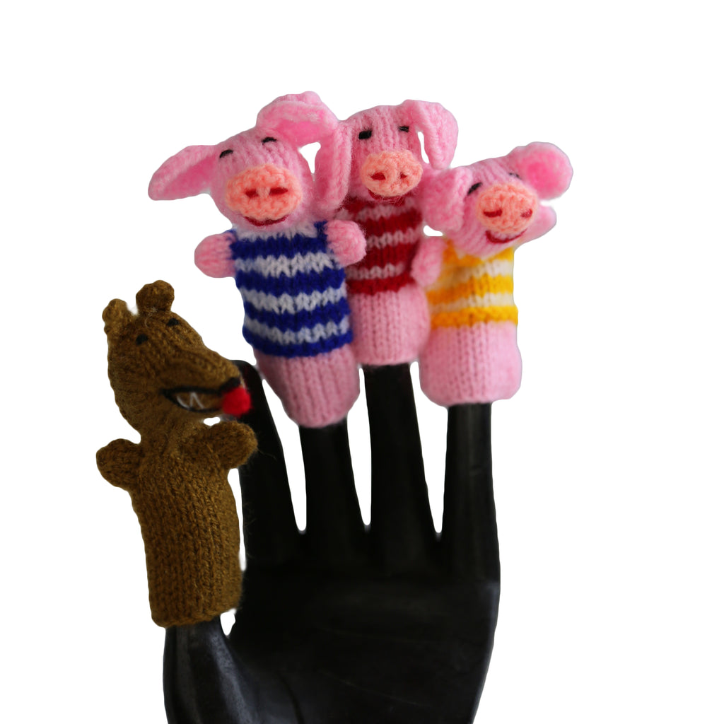 3 Little Pigs Finger Puppet Set of 4 Global Handmade Hope