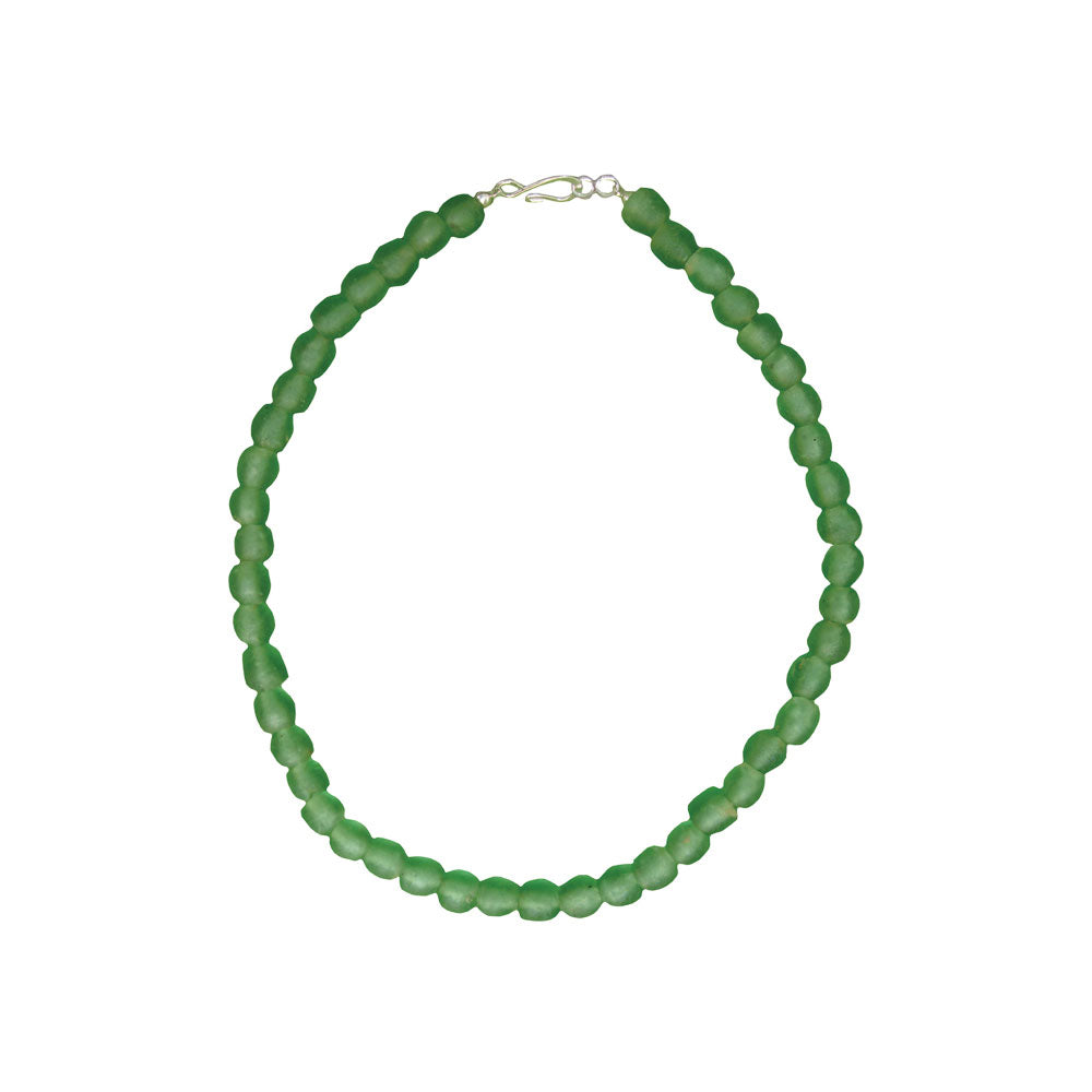 Global Mamas Glass Pearls Necklace Moss - Global Mamas