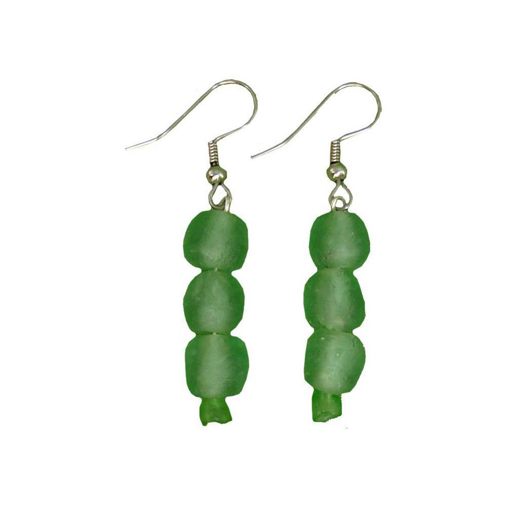 Global Mamas Glass Pearls Earrings Moss - Global Mamas
