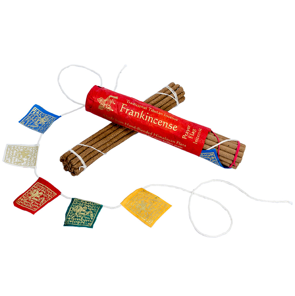 Prayer Flag and Incense Roll Frankincense DZI