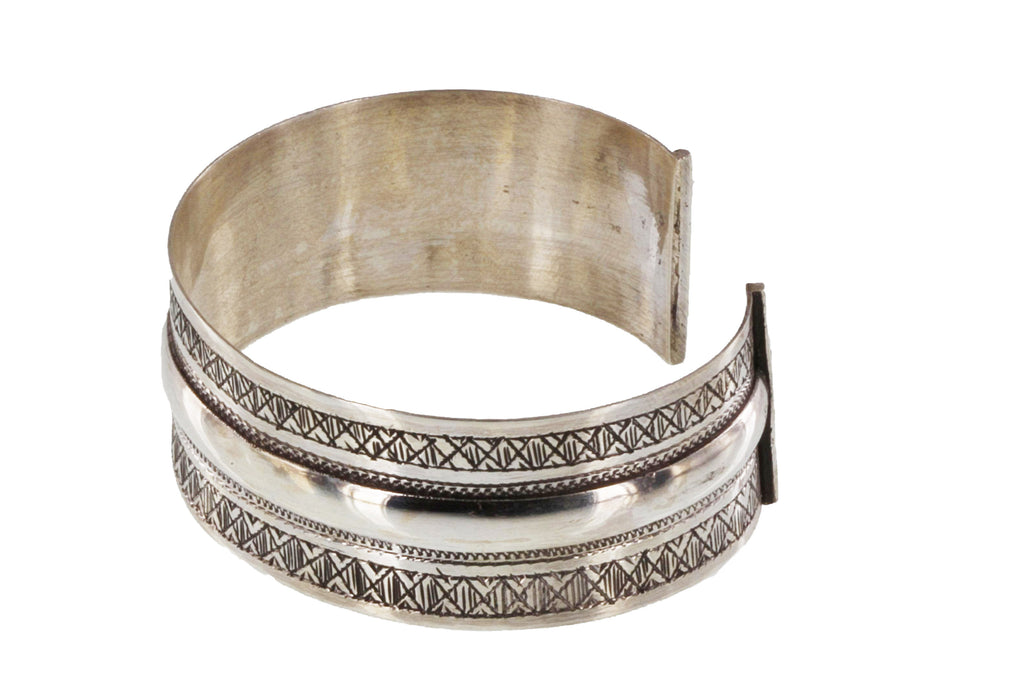 YUFITRI Silver Etched Wide Cuff Bracelet - The Azel Collection