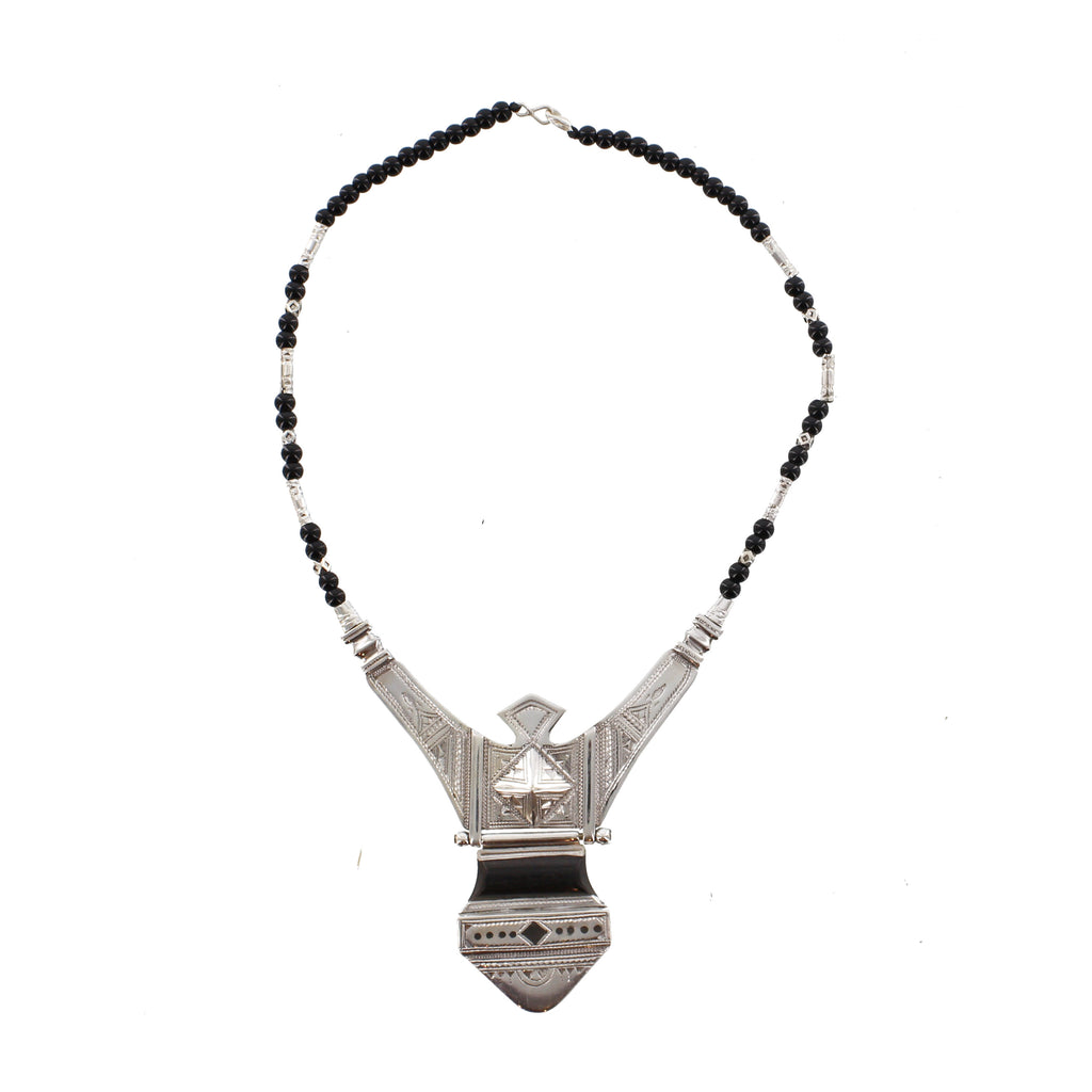 TINTIELLI | Dramatic and Heavily Etched Silver Pendant with Black Beads | The Azel Collection
