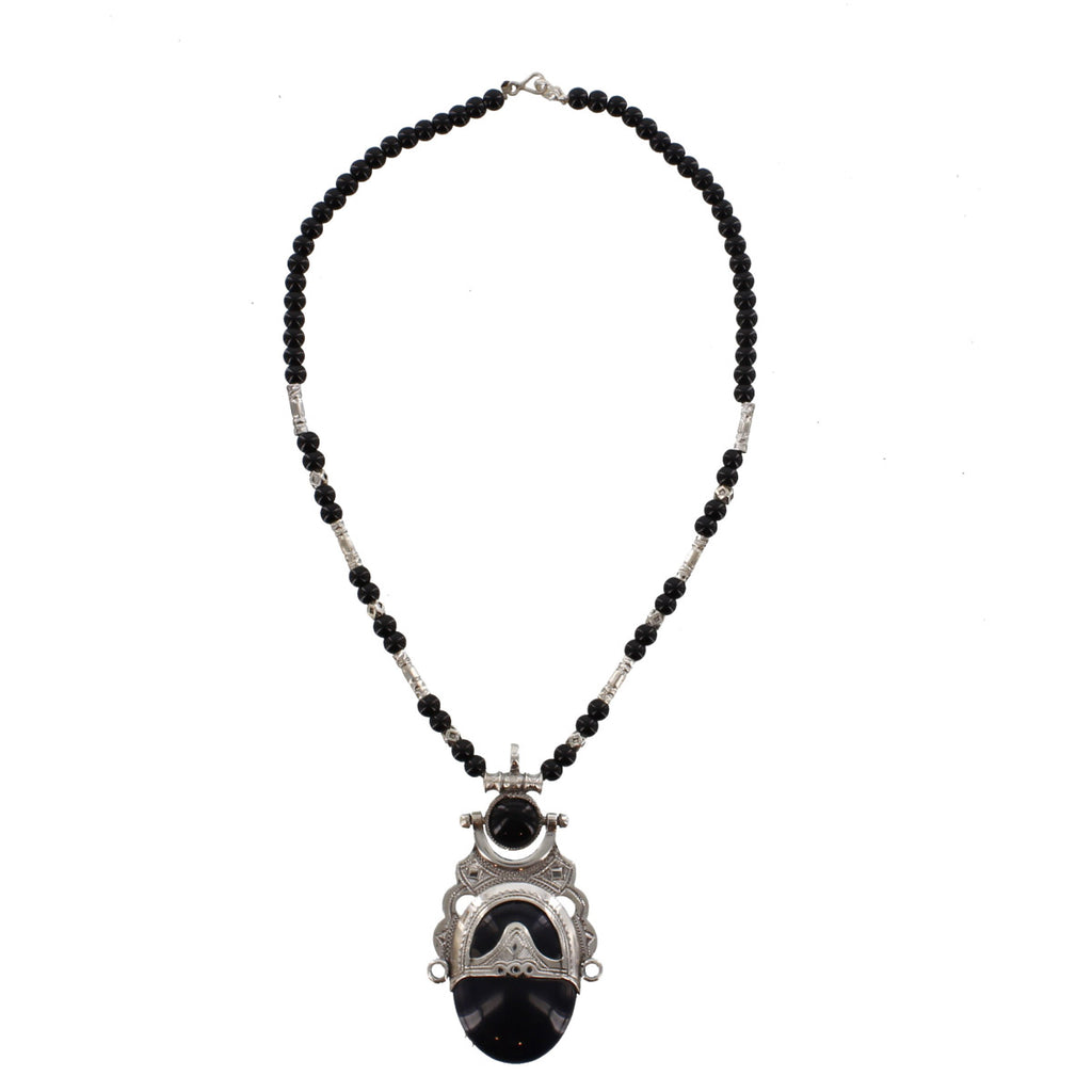 TUMERT Semi-Precious Stone & Silver Pendant with Scroll Edge and Beads