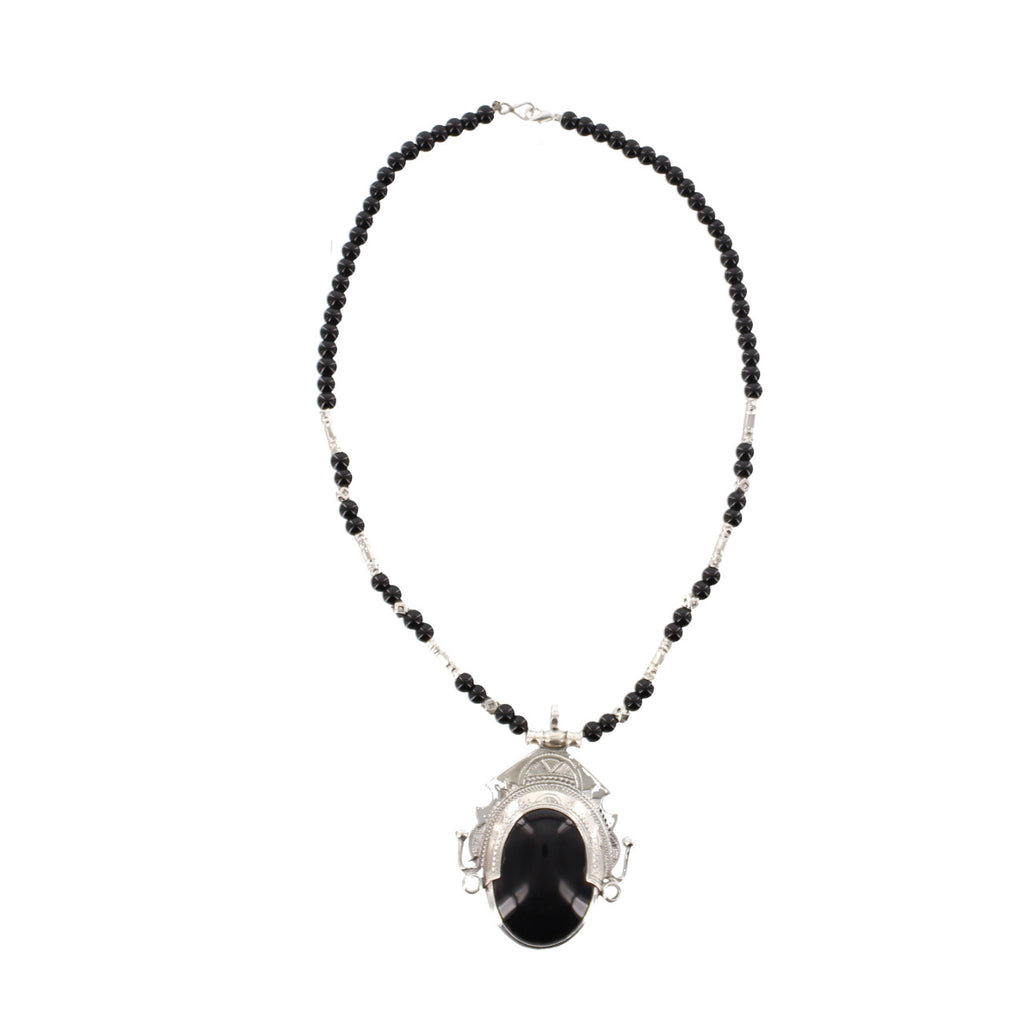 AMALU | Black Agate & Silver Pendant, Intricate Etching and Black Beads