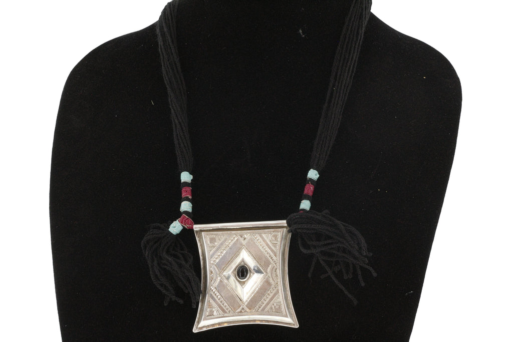 TCHEROT | Silver & Semi-Precious Stone Pendant with Tassels and Coloured Beads