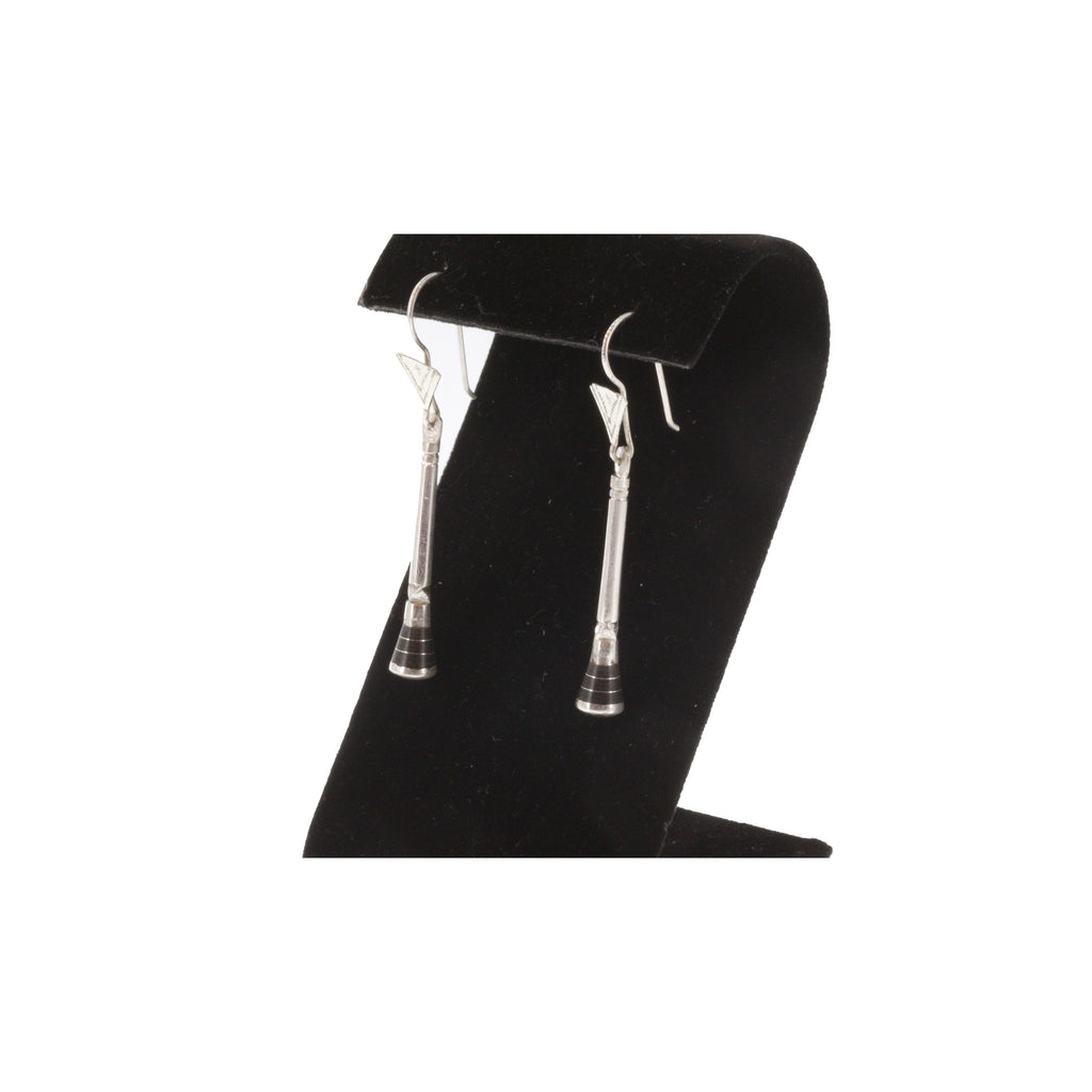 GURAYA | Triangular Silver Earrings, Intricate Etching