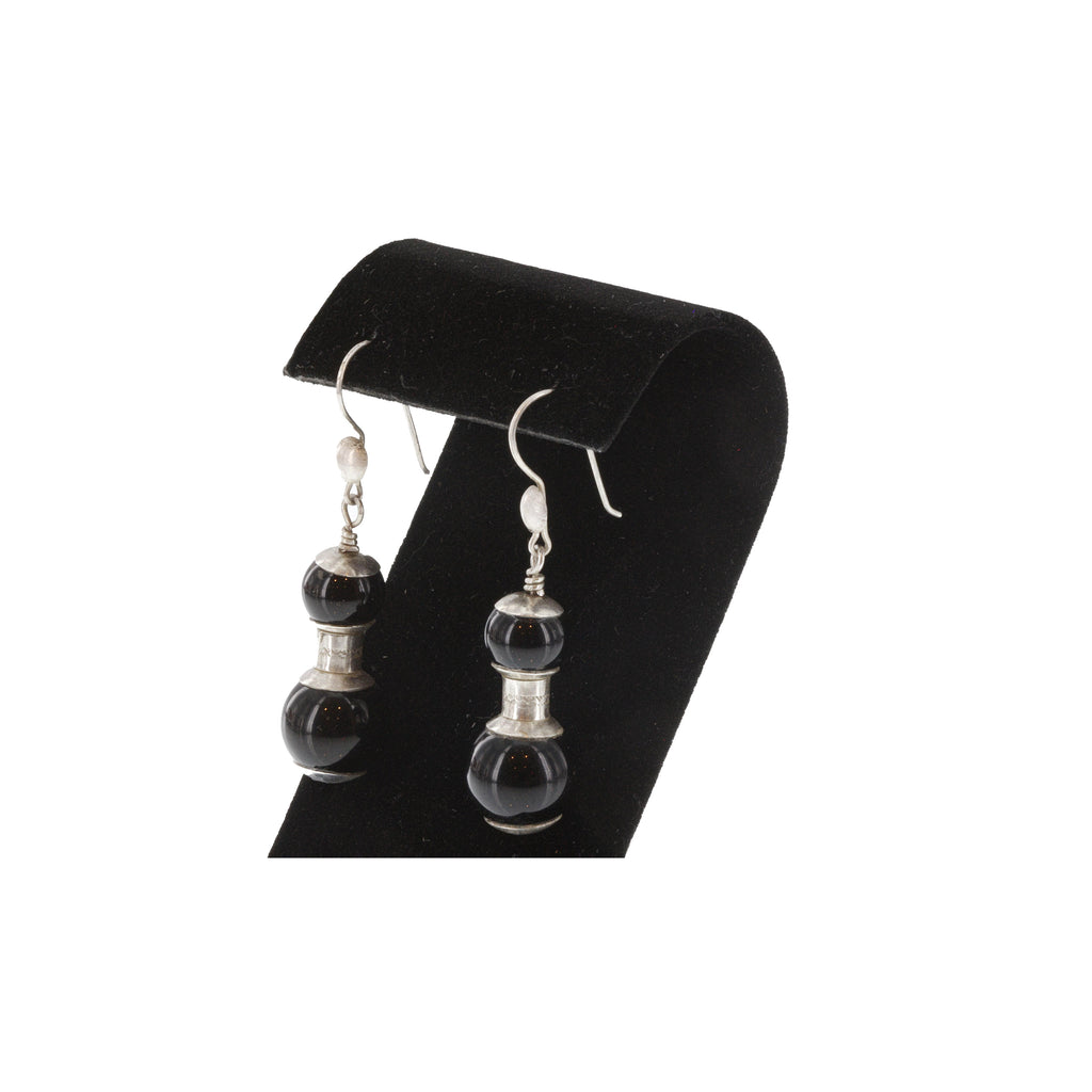 BADIS | Black Agate and Silver Earrings