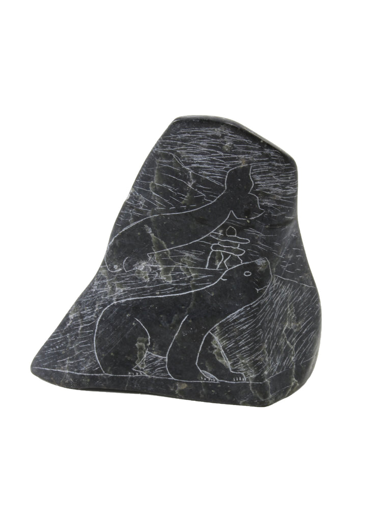 Whale etching Inuit soapstone by Artist Mosusie Usuituayuk