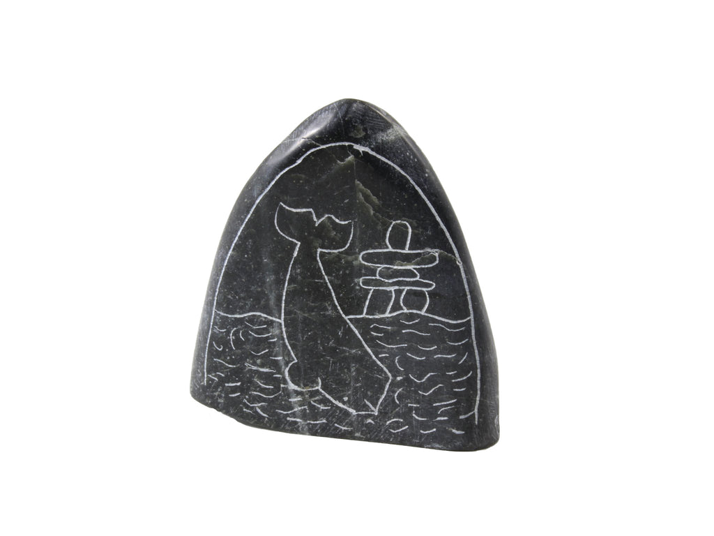 Whale diving with Inukshuk etching Inuit soapstone by Artist Mosusie Usuituayuk