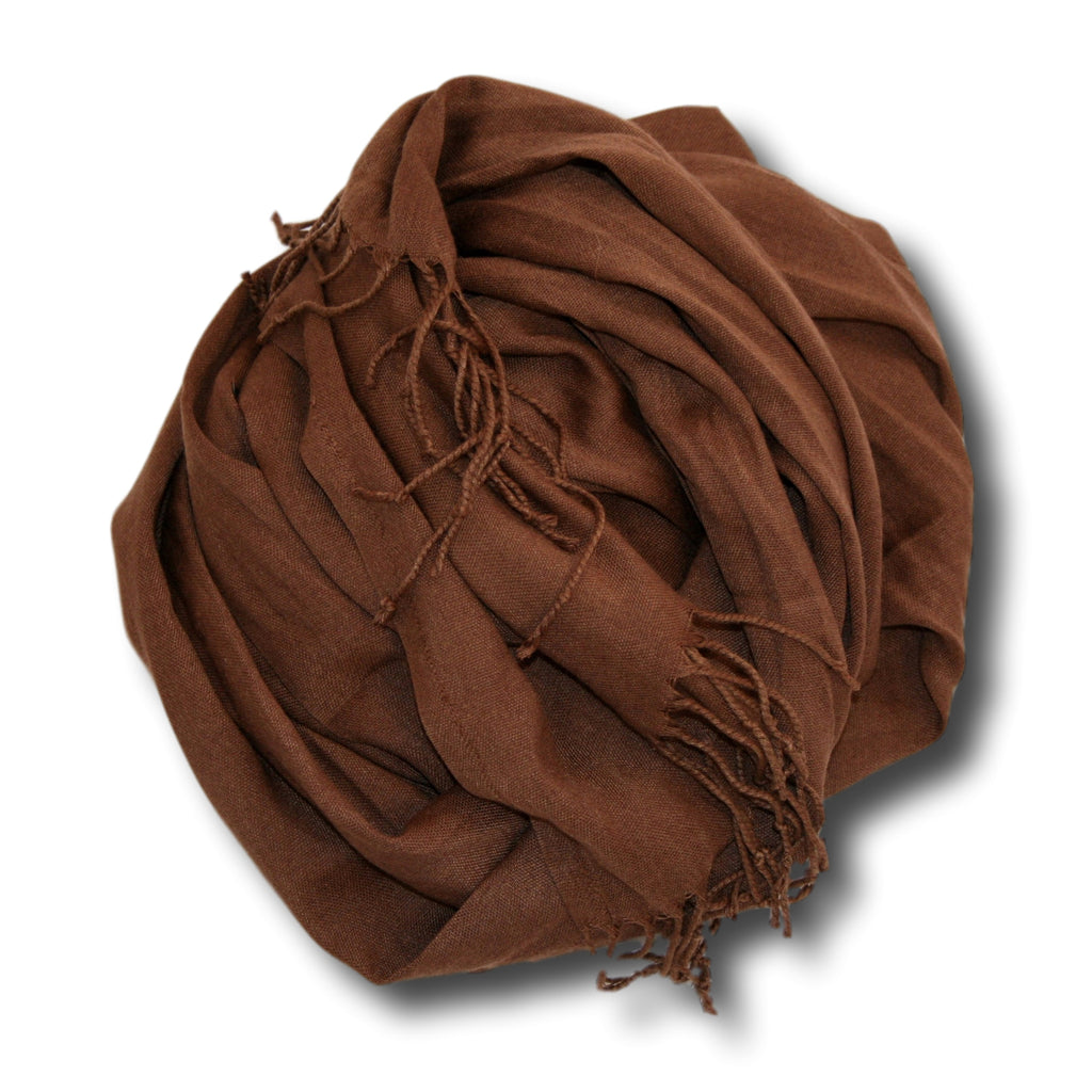 Pashmina-Style Womens Shawl 26 inches wide by 72 inches long Chocolate Bar Brown