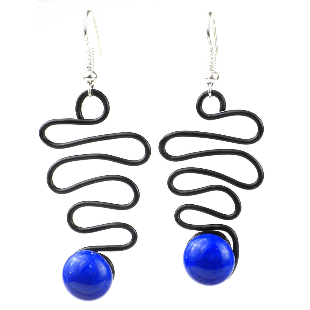 Enameled Wire and Blue Glass Bead  Lombard  Earrings - Chilean