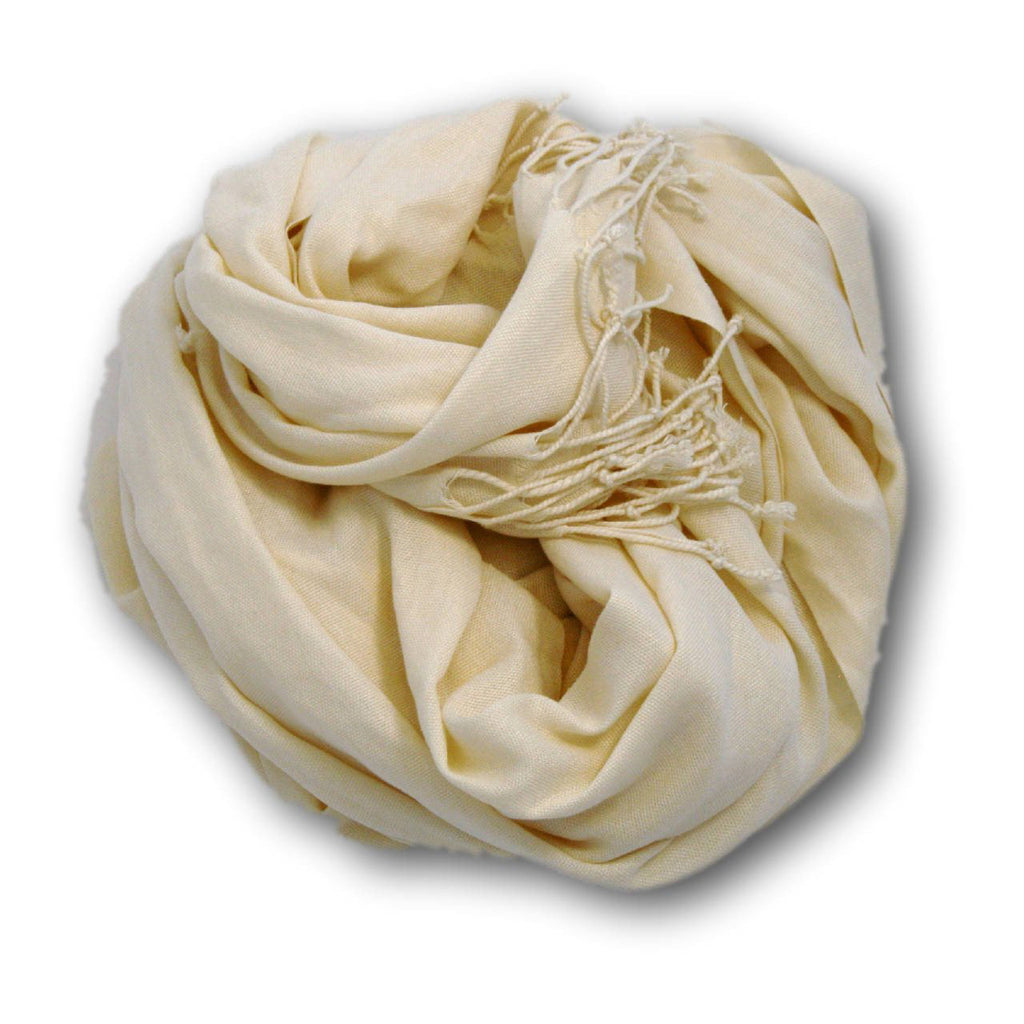 Pashmina-Style Womens Shawl 26 inches wide by 72 inches long Coconut Cream