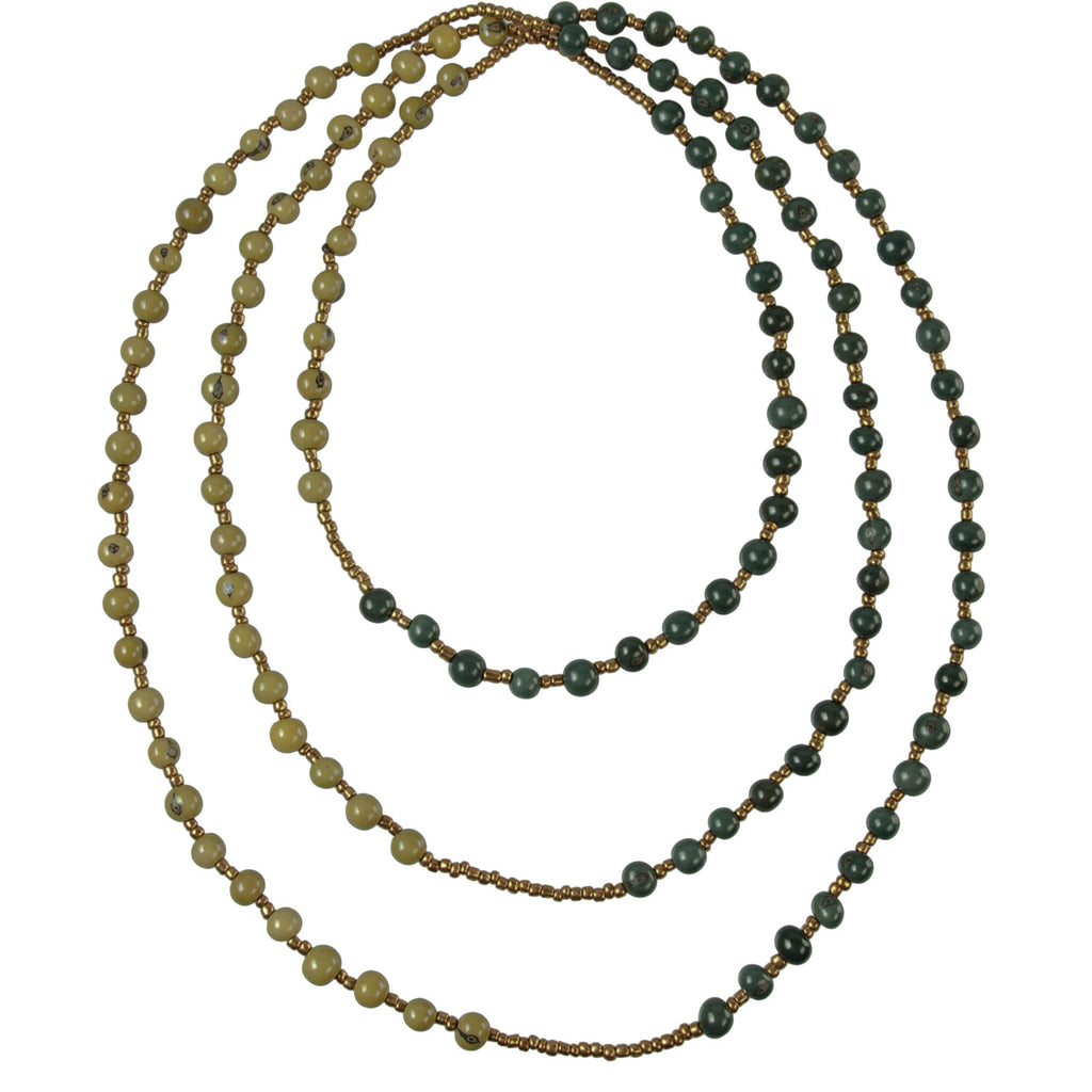 Colorblock Rope Necklace Onyx and Olive Faire Collection