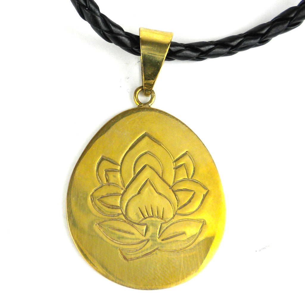 Bomb Shell Etched Lotus Pendant on Cord - Craftworks Cambodia