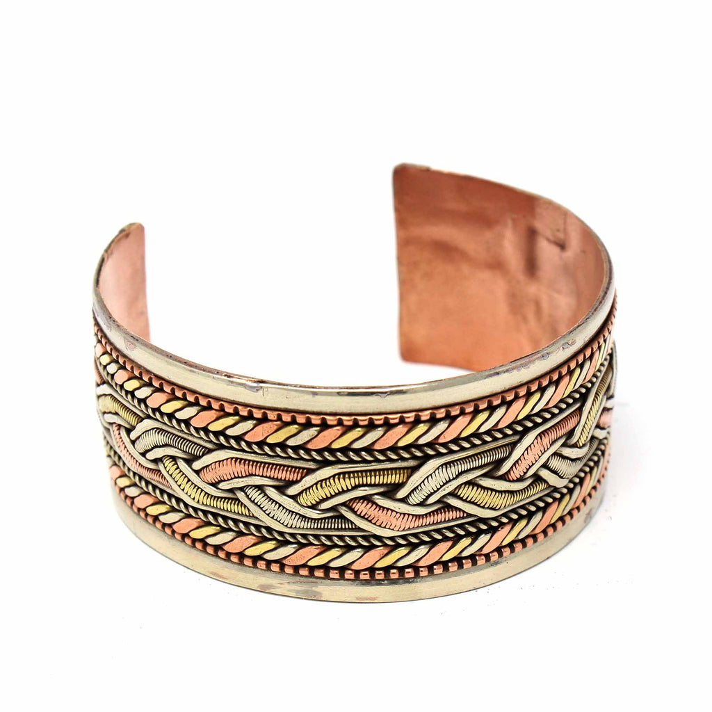 Copper and Brass Bracelet Healing Cuff DZI