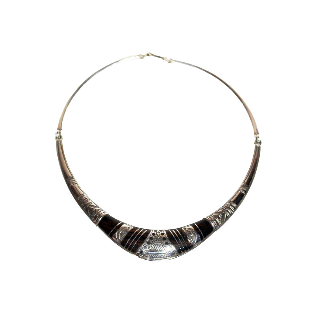 Silver and Ebony Tuareg Collar Style Necklace