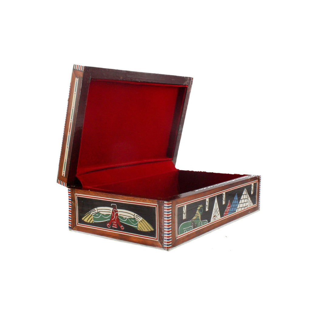 Egyptian Mother of Pearl Inlay Box Ancient Egyptian Pyramid Design