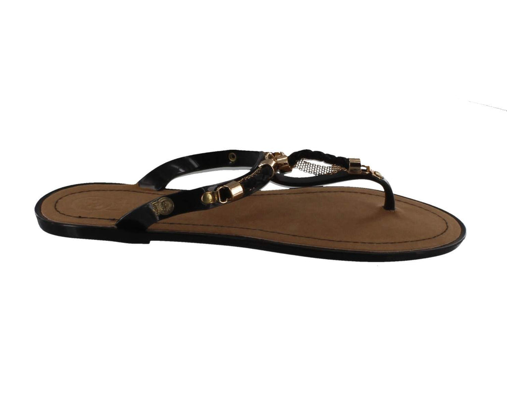 Jelly Footwear Sandal Jandal Style Flat Black with Braid Accent and Gold Detail