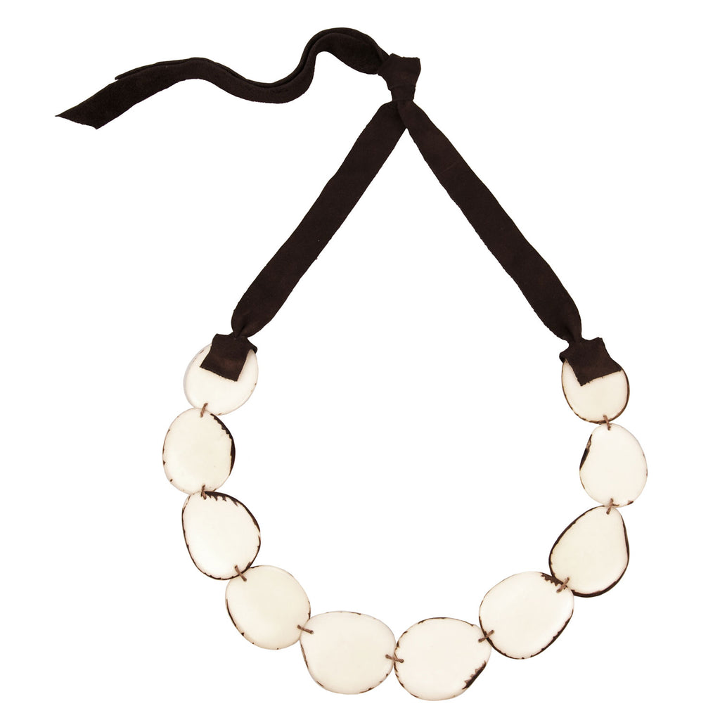Flora Tagua Nut Necklace Cream Faire Collection