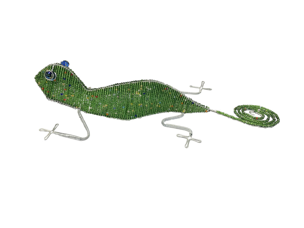 Beaded Wire Animal Gecko 21 inches Green