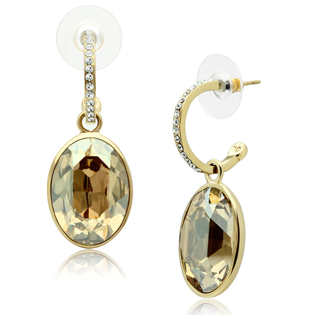 Gold Brass Earrings with Top Grade Crystal Champagne