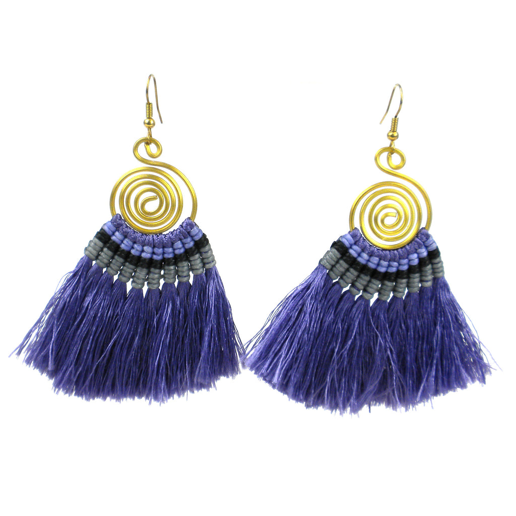 Tribal Spiral Tassel Earrings - Lavender - Global Groove