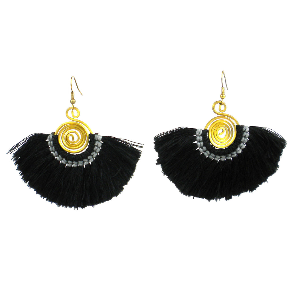 Flamenco Fringe Earrings - Black - Global Groove
