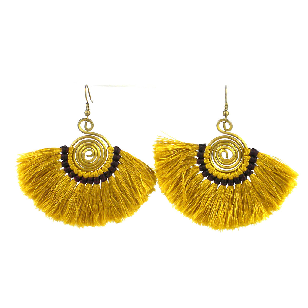 Flamenco Fringe Earrings - Mustard - Global Groove