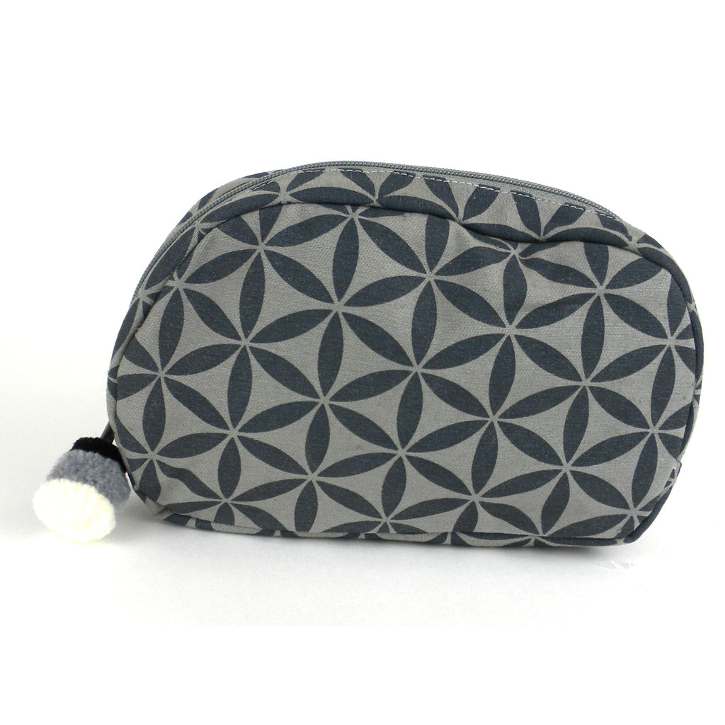 Flower of Life Makeup Bag Grey/Grey/Small - Global Groove