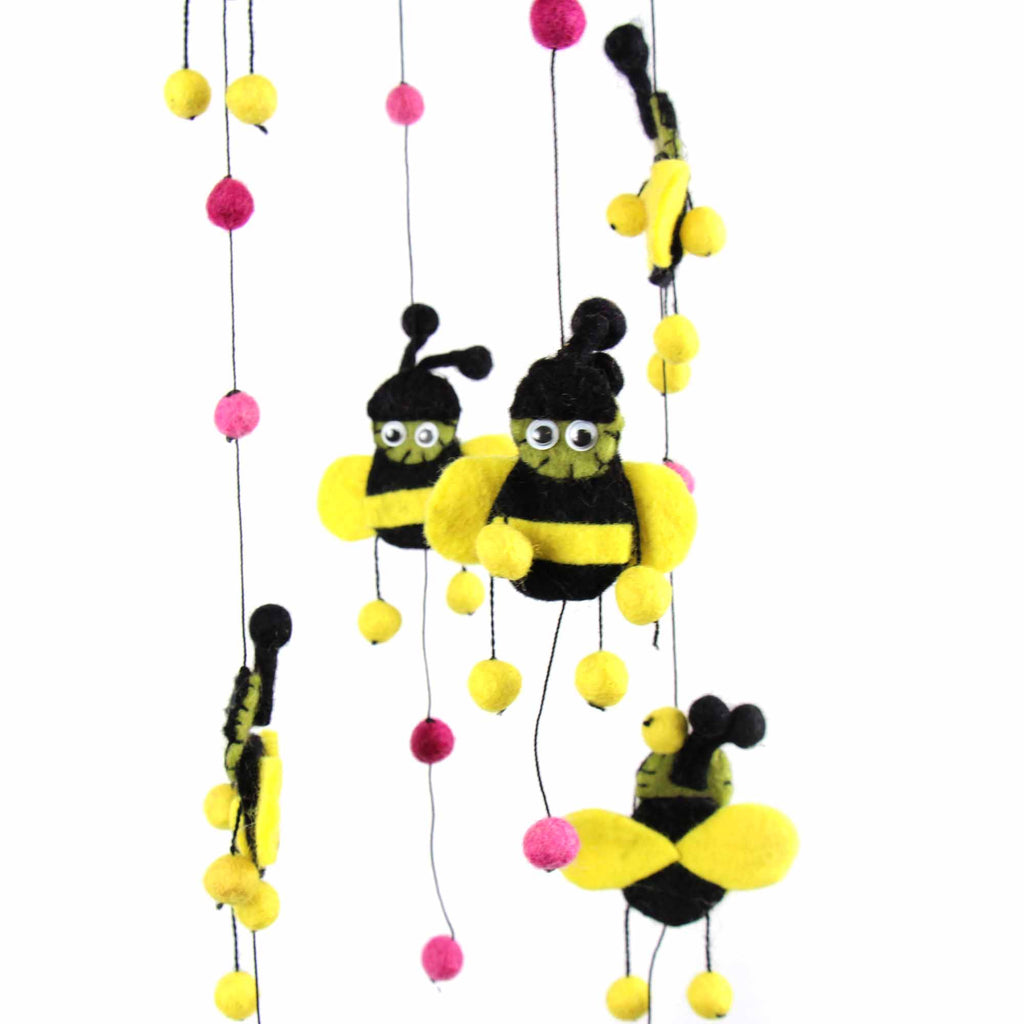 Pink Felt Bumble Bee Mobile Global Groove