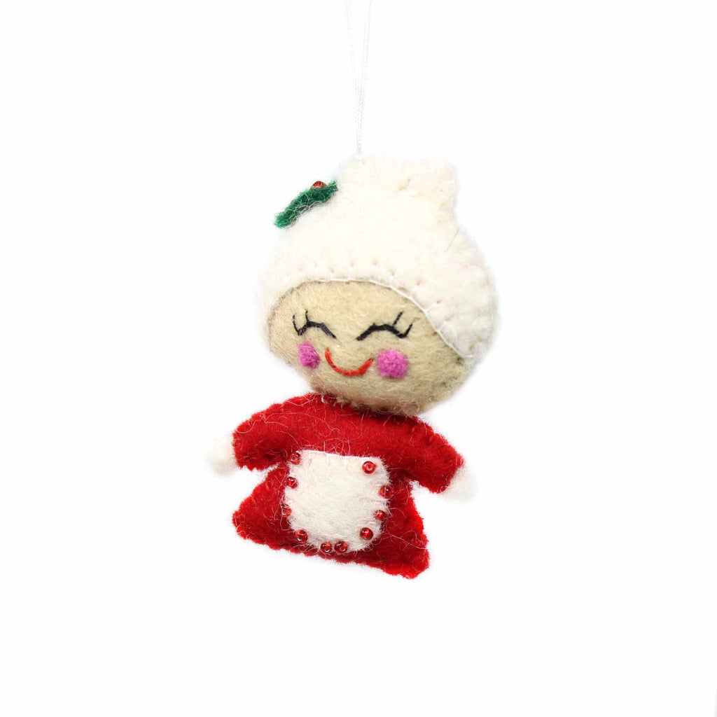 Hand Felted Christmas Ornament Mrs. Claus - Global Groove (H)