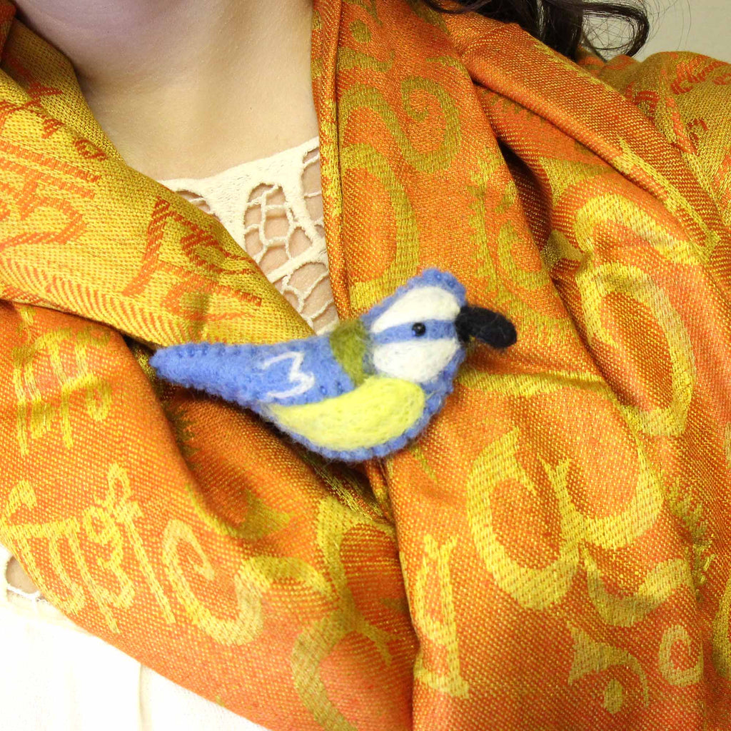 Hand Crafted Felt from Nepal Bird Brooch, Blue and Yellow - Global Groove (J)