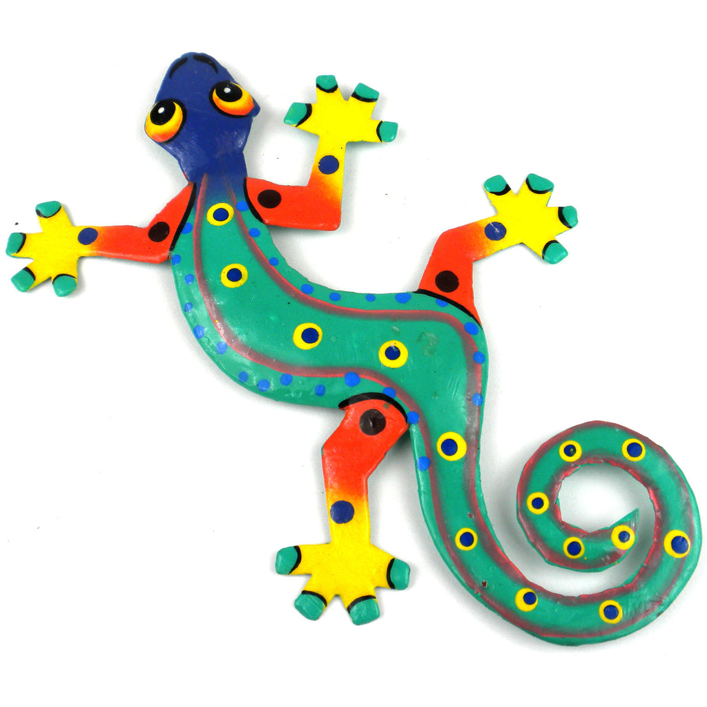 Eight Inch Blue Headed Metal Gecko - Caribbean Craft