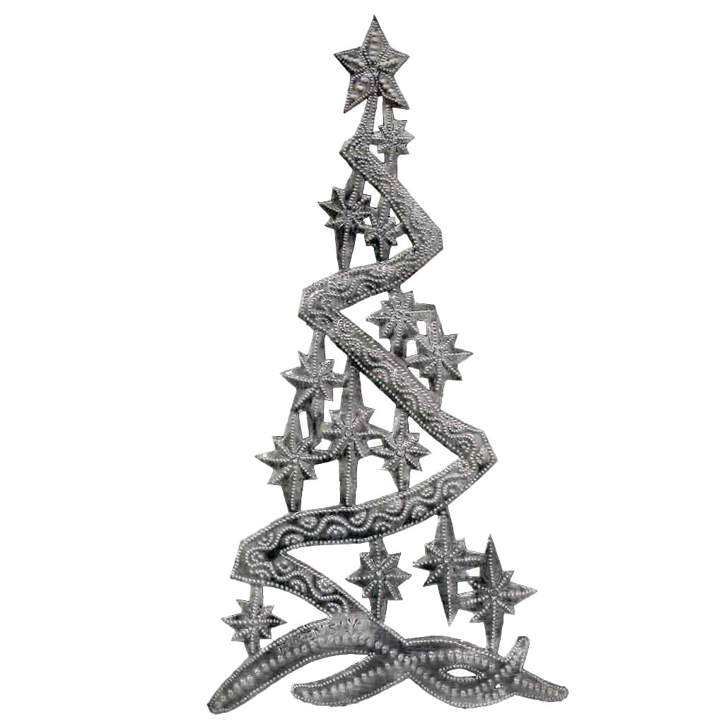 Christmas Tree Metal Wall Art 14 X 7 Croix Des Bouquets