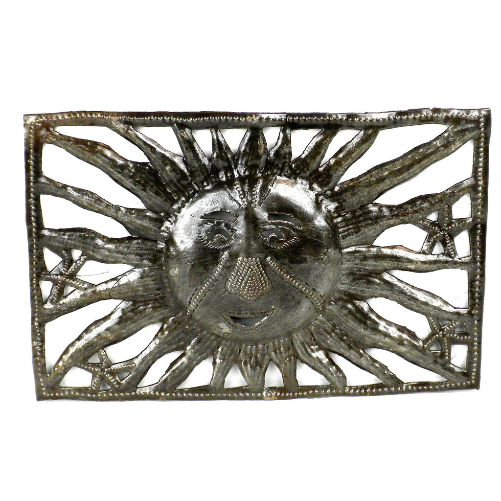 9-Inch Rectangle Sun and Starfish Metal Art - Croix des Bouquets