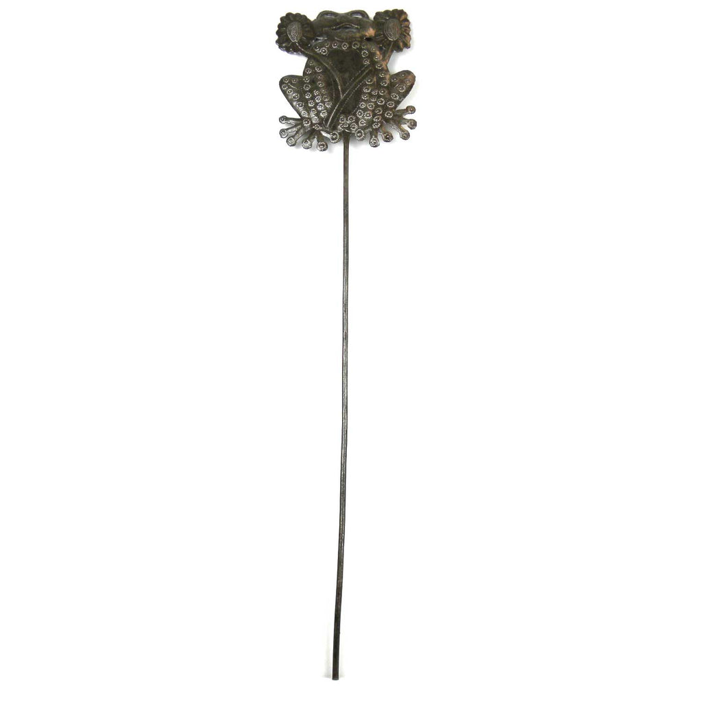 28-inch Metal Garden Stake With Frog  - Croix des Bouquets