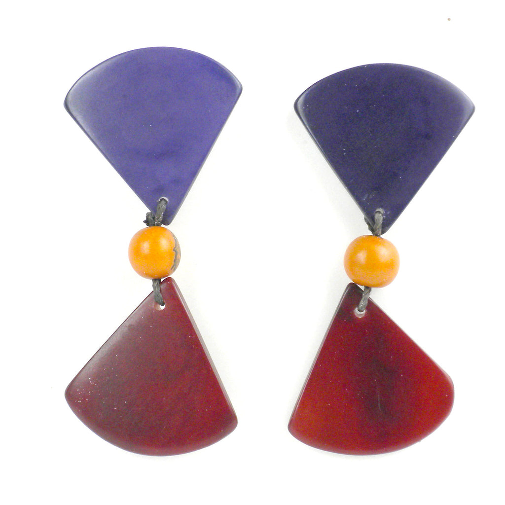 Tagua Hourglass Earrings - Plum - Faire Collection