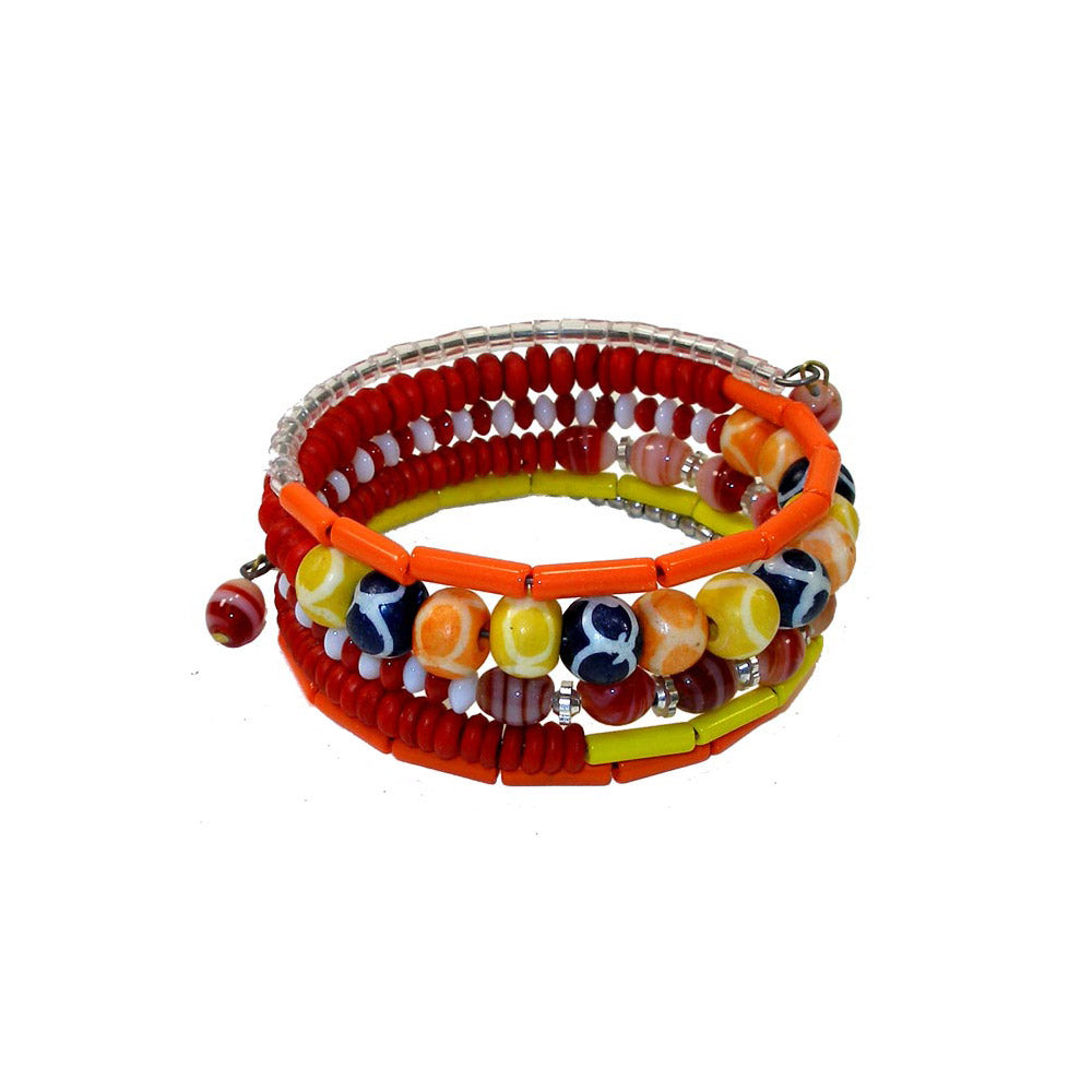 Five Turn Bead and Bone Bracelet - Multicolored - CFM