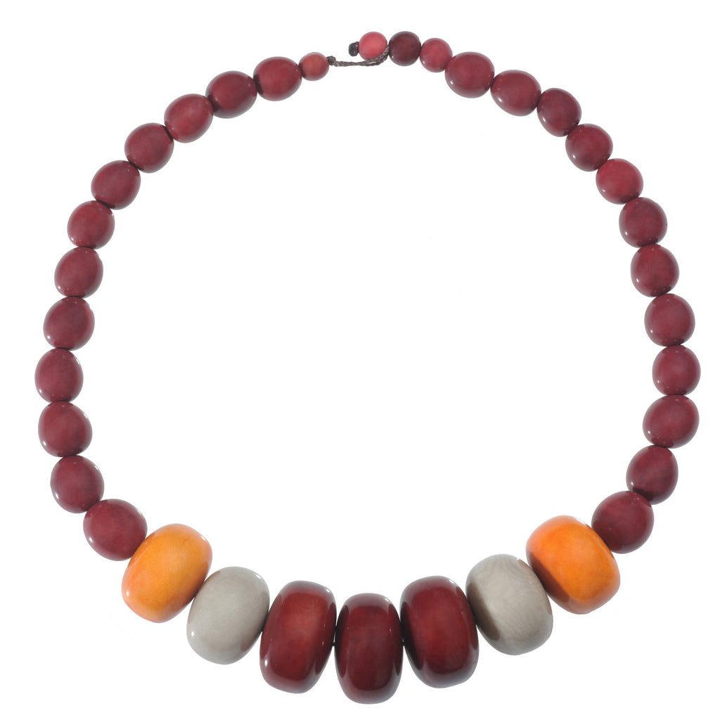 Tagua and Seed Manabi Necklace in Burgundy - Faire Collection