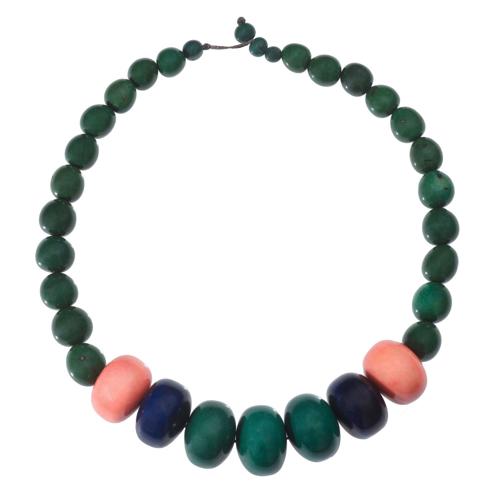 Tagua and Seed Manabi Necklace in Hunter Green Faire Collection