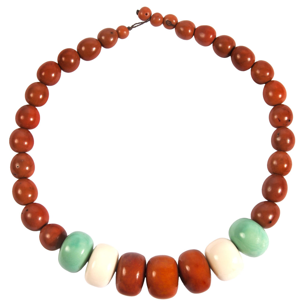 Tagua and Seed Manabi Necklace in Sunset Orange - Faire Collection