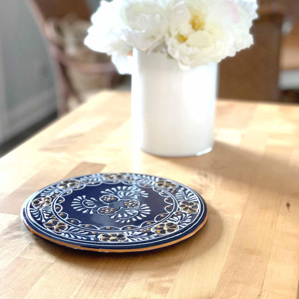Handmade Pottery 8  Trivet or Wall Hanging, Blue - Encantada